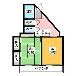 コーポサンライズ[7階]の間取り
