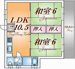 兵庫県神戸市北区鈴蘭台北町2丁目の賃貸マンションの間取り