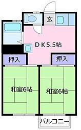 尾崎ハイツA棟 2階2DKの間取り