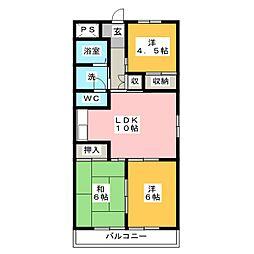 中銀コーポII[2階]の間取り