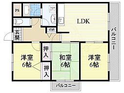 阪急千里線 南千里駅 徒歩25分の賃貸マンション 3階3LDKの間取り