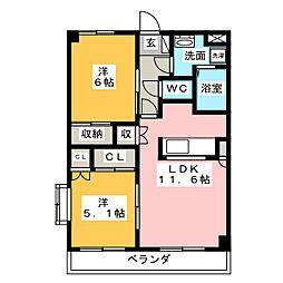 プランドール中平[3階]の間取り