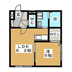 ブランノワール東区役所[2階]の間取り