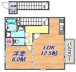兵庫県神戸市灘区上野通7丁目の賃貸アパートの間取り