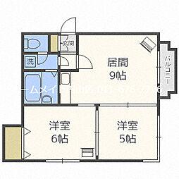 ティファニー北円山[2階]の間取り