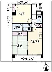 愛知県名古屋市名東区梅森坂西2丁目の賃貸マンションの間取り