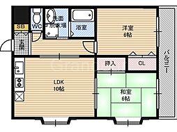 サニーフラット田中[4階]の間取り