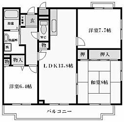 シャトレーヌ夙川[3階]の間取り