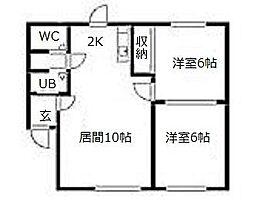 北海道札幌市西区西野二条6丁目の賃貸アパートの間取り