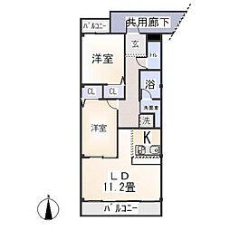 愛知県岡崎市大平町字建石の賃貸マンションの間取り