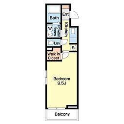JR高徳線 栗林公園北口駅 徒歩14分の賃貸アパート 2階1Kの間取り