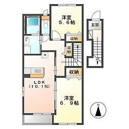 (仮称)日立市田尻町新築アパート[202号室]の間取り