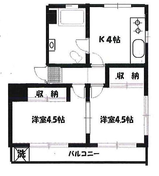 桜台パールコーポ[302号室]の間取り