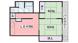 ハイツ綾羽[102号室]の間取り