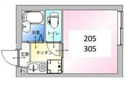 東京メトロ日比谷線 北千住駅 徒歩9分の賃貸アパート 2階1Kの間取り