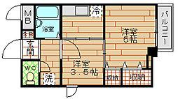 大阪府大阪市港区波除3丁目の賃貸マンションの間取り
