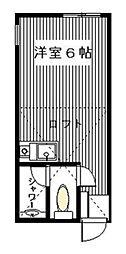 神奈川県横浜市鶴見区向井町4丁目の賃貸アパートの間取り
