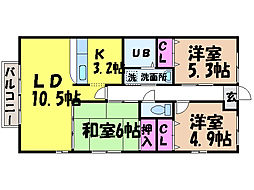 愛媛県松山市西長戸町の賃貸マンションの間取り
