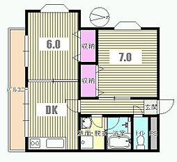 東京都八王子市中野上町2丁目の賃貸マンションの間取り