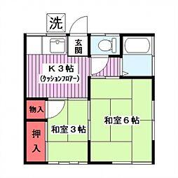 三橋荘[201号室]の間取り