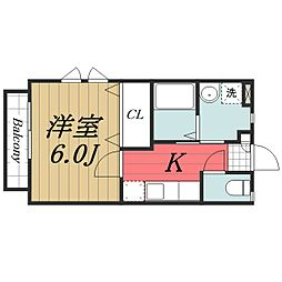 京成本線 公津の杜駅 徒歩10分の賃貸アパート 2階1Kの間取り