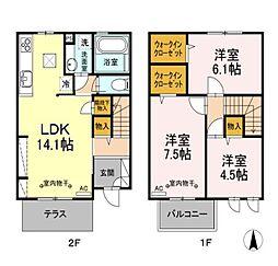 [テラスハウス] 東京都国立市西1丁目 の賃貸【東京都 / 国立市】の間取り