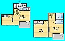 セイワ南堀江リバーレジデンスEAST 6階1SLDKの間取り
