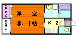 クレフラスト唐原[1階]の間取り