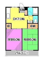 東京都東久留米市南沢4丁目の賃貸マンションの間取り