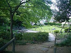 公園関口台公園:マレーシア大使館の跡地で、関口台地の東斜面を利用した公園です。池の前面に明るい芝生地が広がっていますが、背景の斜面地は山地の景観をつくり出しています。そこにはヤマモミジが多く植栽さ