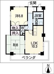 パークヒルズマンション[6階]の間取り