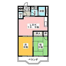 シャトー飯田1号・2号[2階]の間取り
