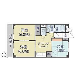 ニューオカダパールマンション[305号室]の間取り