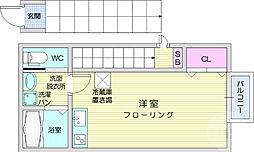 仙台市営南北線 北四番丁駅 徒歩9分の賃貸アパート 2階ワンルームの間取り