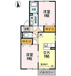 アクシス南島田[2階]の間取り