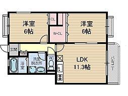 パルモア茨木[2階]の間取り