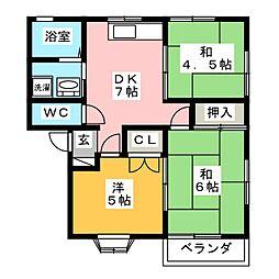 コーポシャトレB[1階]の間取り