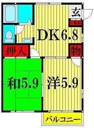 埼玉県越谷市大沢4の賃貸アパートの間取り