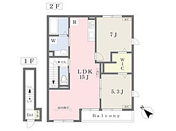 仮)本宿6丁目新築D-room 2階2LDKの間取り