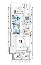 エステムコート難波WEST-SIDE Vアジュール 5階1Kの間取り