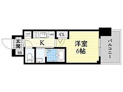 エステムコート新大阪13ニスタ 4階1Kの間取り