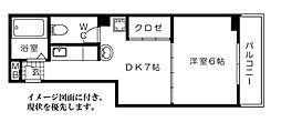 広島県広島市中区鶴見町の賃貸マンションの間取り