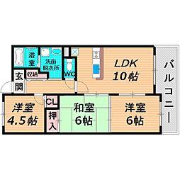 京阪本線 西三荘駅 徒歩9分の賃貸マンション 4階3LDKの間取り