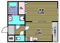 サンアーク北野田 1階1DKの間取り