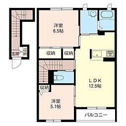 ハーモニー B[2階]の間取り