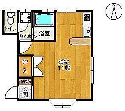 コーポ中島 3[1F東号室]の間取り