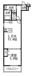 フジパレス上牧駅前 3階1LDKの間取り