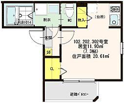 仮称:ハ−モニ−テラス・大阪市西淀川区歌島一丁目8B[202号室]の間取り