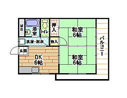 福岡県北九州市小倉北区上到津2丁目の賃貸マンションの間取り