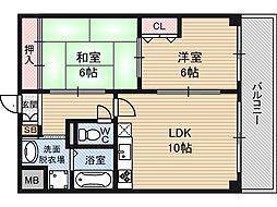 新大阪パークハイツ[10階]の間取り